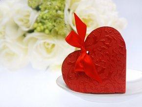 Krabička Srdce červené s mašličkou