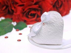 Krabička Srdce biele s mašličkou