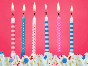 Narodeninové sviečky modré a ružové 6 ks
