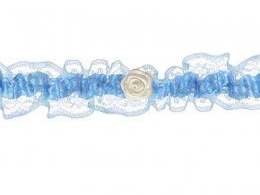 Svadobný podväzok modrý s ružou