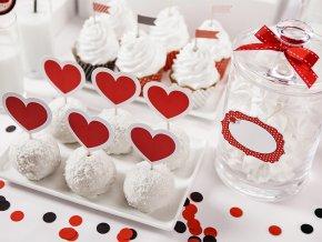 Ozdoby na cupcakes Srdce 6 ks