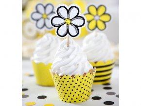 Ozdoby na cupcakes - Kvety 6 ks