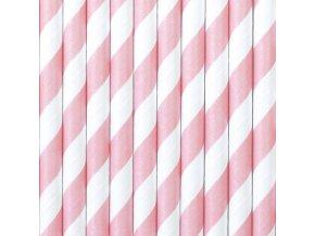 Papierové slamky svetloružové 10 ks