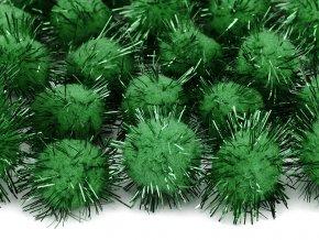 Plysove pompony leskle zelene