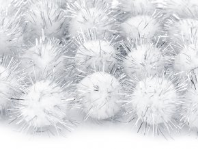 Plysove pompomy biele