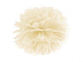 Pompom v tvare kvetu krémový 35 cm