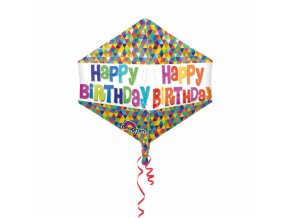 Foliovy balon Happy birthday Geo