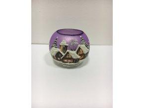 Čajovka fialová s motívom drevenice 8 cm
