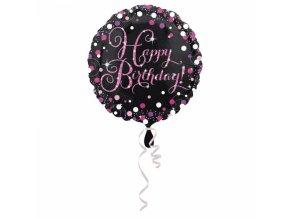 Fóliový balón Happy Birthday trblietavá ružová