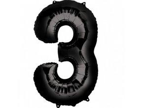 Balónik fóliový narodeninové číslo 3 čierny 86cm