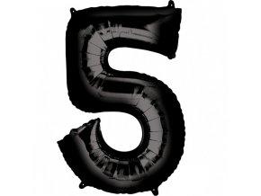 Balónik fóliový narodeninové číslo 5 čierny 86cm