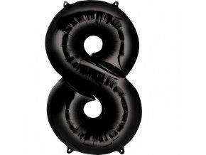 Balónik fóliový narodeninové číslo 8 čierny 86cm