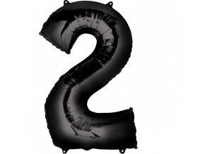 Balónik fóliový narodeninové číslo 2 čierny 86cm