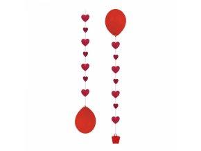 Dekoračná stuha na balóny - Srdiečka 3 ks