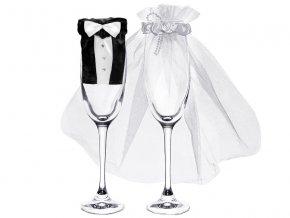 Svadobné oblečenie na poháre Ženích s nevestou