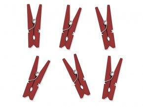 Drevené dekoračné štipce červené 10 ks
