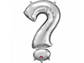 Mini fóliový balónik symbol ? 33 cm strieborný