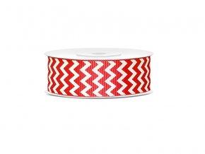 Rypsová stuha červená so vzorom chevron 25mm/10m