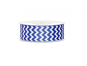 Rypsová stuha modrá so vzorom chevron 25mm/10m