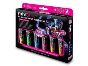 Set farieb na tvar a telo neon uv pro