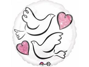 Fóliový balón Svadobné holubice