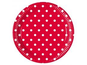 Bodkovane taniere cervene