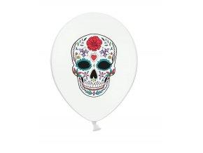 Balón s motívom Dňa mŕtvych 30 cm biele