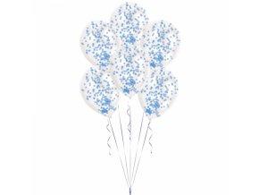 Latexové balóny s konfetami modré 6 ks