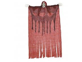Visiaca dekorácia - Kostra v červenej plachte