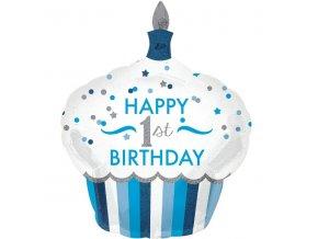 Modrý balón v tvare cupcake - 1. narodeniny