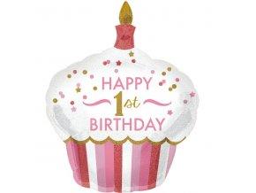 Ružový balón v tvare cupcake - 1. narodeniny