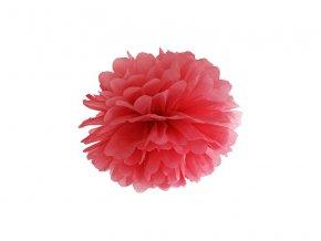 Pompom v tvare červeného kvetu 25 cm