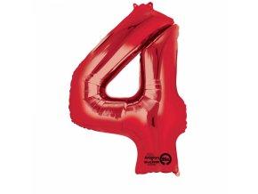 Balónik fóliový narodeninové číslo 4 červený 86 cm