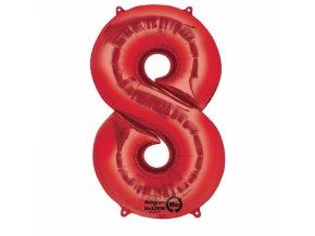 Balónik fóliový narodeninové číslo 8 červený 86 cm