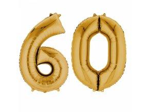 Fóliový balón v tvare čísla 60 zlatý