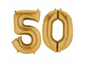 Fóliový balón v tvare čísla 50 zlatý