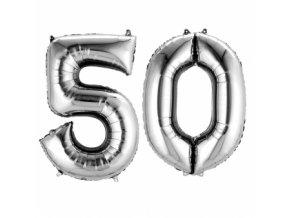 Fóliový balón v tvare čísla 50 strieborný