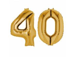 Fóliový balón v tvare čísla 40 zlatý