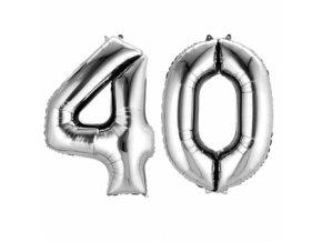 Fóliový balón v tvare čísla 40 strieborný