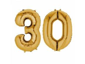 Fóliový balón v tvare čísla 30 zlatý