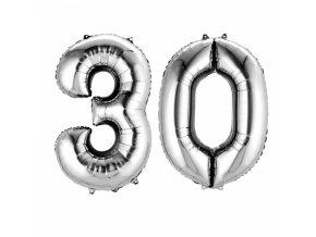 Fóliový balón v tvare čísla 30 strieborný