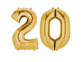 Fóliový balón v tvare čísla 20 zlatý