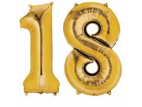 Fóliový balón v tvare čísla 18 zlatý