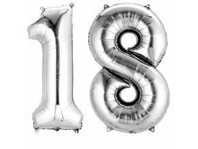 Fóliový balón v tvare čísla 18 strieborný
