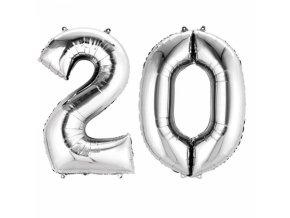 Fóliový balón v tvare čísla 20 strieborný