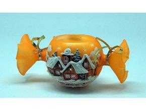 Bonbón oranžový s motívom dreveníc
