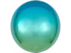 Ombré modro-zelený fóliový balón- guľa