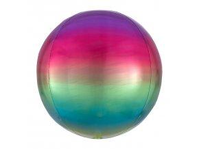 Ombré fóliový balón vo farbe dúhy - guľa