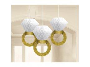 Závesná svadobná dekorácia v tvare prsteňov - 3 ks