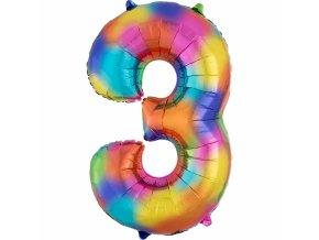 Balónik fóliový narodeninové číslo 3 dúhový 86 cm